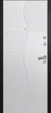Дверь Алмаз Черный шелк / Синий металлик H-7 Белый глянец №74