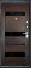 Дверь Город мастеров Брест Коричневый сатин  Венге Лакобель черный Прага (царга)