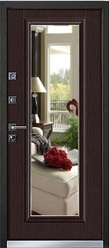 Дверь Mastino Cielo (Parko) Черный шелк D-4 Венге MS-7 Зеркало