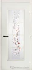 Дверь Краснодеревщик 50 40 (цветное стекло) с фурнитурой, Белый CPL