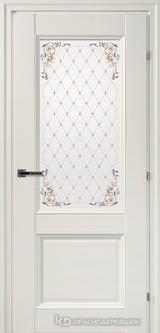 Дверь Краснодеревщик 33 24Ф (цветное стекло) с фурнитурой, Белый CPL