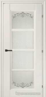 Дверь Краснодеревщик 33 40Ф (стекло Денор) с фурнитурой, Белый CPL