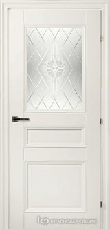Дверь Краснодеревщик 33 42Ф (стекло Роса) с фурнитурой, Белый CPL