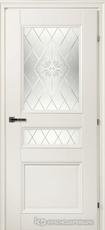 Дверь Краснодеревщик 33 44Ф (стекло Роса) с фурнитурой, Белый CPL