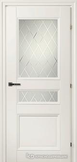 Дверь Краснодеревщик 33 44Ф (стекло Кристалл) с фурнитурой, Белый CPL