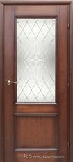 Дверь Краснодеревщик 33 24 (стекло Роса) с фурнитурой, Кофе натуральный шпон