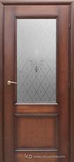 Дверь Краснодеревщик 33 24 (стекло Торшон) с фурнитурой, Кофе натуральный шпон