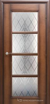 Дверь Краснодеревщик 33 40 (стекло Роса) с фурнитурой, Кофе натуральный шпон