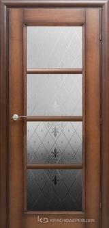 Дверь Краснодеревщик 33 40 (стекло Торшон) с фурнитурой, Кофе натуральный шпон