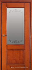 Дверь Краснодеревщик 33 24 (стекло Денор) с фурнитурой, Бразильская груша натуральный шпон
