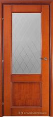 Дверь Краснодеревщик 33 24 (стекло Кристалл) с фурнитурой, Бразильская груша натуральный шпон