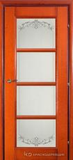 Дверь Краснодеревщик 33 40 (стекло Денор) с фурнитурой, Бразильская груша натуральный шпон