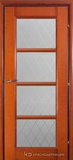 Дверь Краснодеревщик 33 40 (стекло Кристалл) с фурнитурой, Бразильская груша натуральный шпон