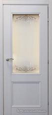 Дверь Краснодеревщик 33 24 (стекло Денор) с фурнитурой, Эмаль светло-серая натуральный шпон