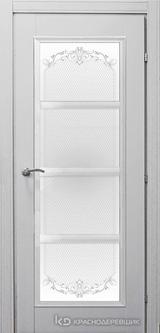 Дверь Краснодеревщик 33 40 (стекло Денор) с фурнитурой, Эмаль светло-серая натуральный шпон