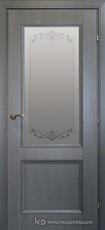 Дверь Краснодеревщик 33 24 (стекло Денор) с фурнитурой, Эмаль серая натуральный шпон