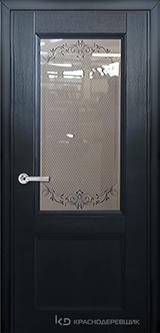 Дверь Краснодеревщик 33 24 (стекло Денор) с фурнитурой, Эмаль черная натуральный шпон