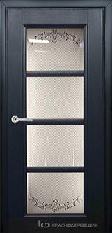 Дверь Краснодеревщик 33 40 (стекло Денор) с фурнитурой, Эмаль черная натуральный шпон