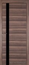 Дверь Краснодеревщик 7 01 (стекло Черное) с фурнитурой, Дуб темный sincrolam