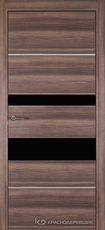 Дверь Краснодеревщик 7 03М (молдинг, стекло Черное) с фурнитурой, Дуб темный sincrolam
