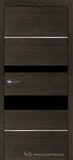 Дверь Краснодеревщик 7 03М (молдинг, стекло Мателак сильвер) с фурнитурой, Дуб Шварц sincrolam