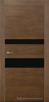Дверь Краснодеревщик 7 03 (стекло черное) с фурнитурой, Дуб кофе натуральный шпон