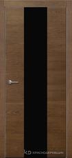 Дверь Краснодеревщик 704 (стекло черное) с фурнитурой, натуральный шпон Дуб кофе