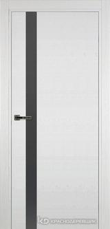 Дверь Краснодеревщик 7 01 (стекло серое) с фурнитурой, Эмаль белая натуральный шпон