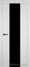 Дверь Краснодеревщик 704 (стекло черное) с фурнитурой, натуральный шпон Эмаль белая
