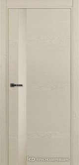 Дверь Краснодеревщик 7 01 (стекло белое) с фурнитурой, Эмаль жемчужная натуральный шпон