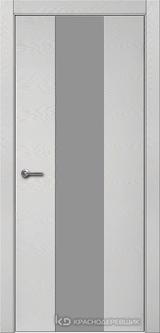Дверь Краснодеревщик 7 04 (стекло серое) с фурнитурой, Эмаль светло-серая натуральный шпон