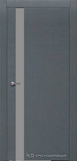 Дверь Краснодеревщик 7 01 (стекло серое) с фурнитурой, Эмаль серая натуральный шпон