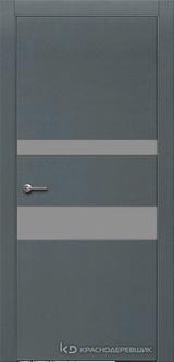 Дверь Краснодеревщик 7 03 (стекло серое) с фурнитурой, Эмаль серая натуральный шпон