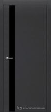 Дверь Краснодеревщик 701 (стекло черное) с фурнитурой, натуральный шпон Эмаль черная