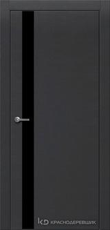 Дверь Краснодеревщик 7 01 (стекло черное) с фурнитурой, Эмаль черная натуральный шпон