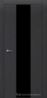Дверь Краснодеревщик 7 04 (стекло черное) с фурнитурой, Эмаль черная натуральный шпон