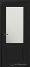 Дверь Краснодеревщик 732.1 (стекло матовое) с фурнитурой, MDF Эмаль черная