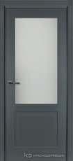 Дверь Краснодеревщик 742.1 (со стеклом) с фурнитурой, натуральный шпон Эмаль серая