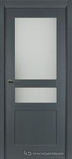 Дверь Краснодеревщик 743.1 (со стеклом) с фурнитурой, натуральный шпон Эмаль серая