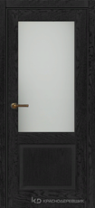 Дверь Краснодеревщик 742.1 (со стеклом) с фурнитурой, натуральный шпон Эмаль черная