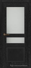 Дверь Краснодеревщик 743.1 (со стеклом) с фурнитурой, натуральный шпон Эмаль черная
