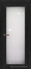 Дверь Краснодеревщик 749 (со стеклом) с фурнитурой, натуральный шпон Эмаль черная